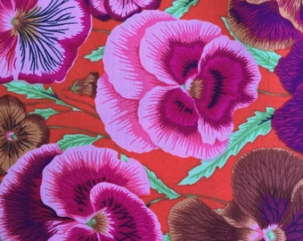 Pansies by Phillip Jacobs for Westminster Fabrics in Blue Half Yard