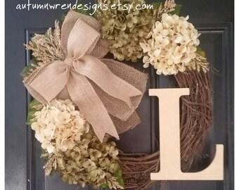 Everyday Door Decor, Cream and Sage Gr Wreath, Wreath for Front Door, Wreath, Hydrangea Wreath