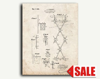 Patent Print - Net for Basketball Goal Patent Wall Art Poster