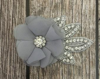 Grey hair clip, rhinestone hair clip, flower girl hair clip, wedding hair clip, hair clip, bling clip, rhinestone clip, flower girl clip,