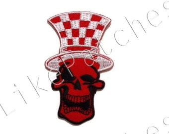 Red Skull - Funny Ghost - Checkered Hat - Halloween Patch - New Sew / Iron On Patch Embroidered Applique Size 5cm.x8.2cm.