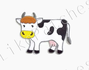 Cow Animal Farm New Sew / Iron On Patch Embroidered Applique Size 7.9cm.x5.8cm.