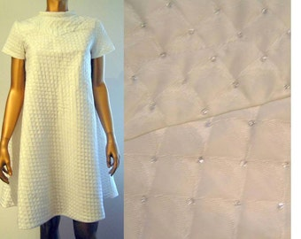 White Silver Mod Space Age tent dress from 1960s Pierre Cardin pattern Small