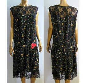 Gatsby 1920s flapper dress black silk and roses MED