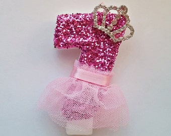 Pink Sparkly Tutu Tiara- Princess-Glitter Birthday Candle- Pink Glitter-Princess party-Barbie Party