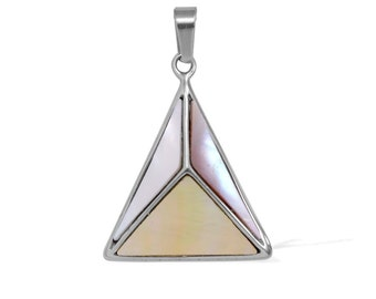 Mother of Pearl Triangle Pendant without Chain in Silver-Tone