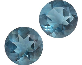 Teal Fluorite Round Cut Loose Gemstones Set of 2 1A Quality 8mm TGW 4.30 cts.