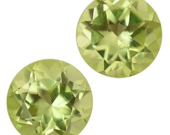 Hebei Peridot Loose Gemstones Set of 2 Round Cut 1A Quality 6mm TGW 1.80 cts.