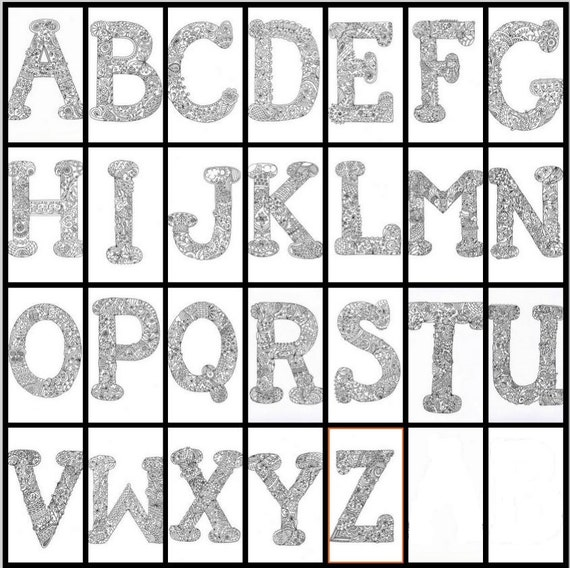 Daily Coloring Pages Alphabet Letters : Alphabet colouring printable letters hand drawn zentangle