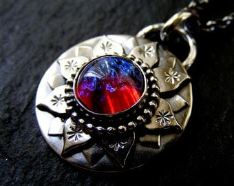 Silver Lotus necklace with Dragons Breath handmade necklace Silver Water Lily Pendant