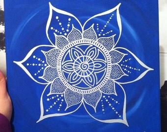 Blue Mandala Flower Painting,