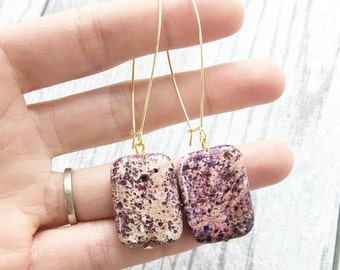 Large purple stone earrings, purple earrings, stone jewelry, bohemian earrings, jasper earrings, purple turquoise, purple dangle earrings
