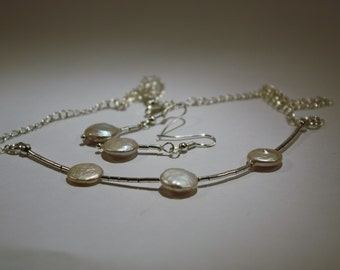 Genuine coin pearl and sterling silver necklace and earring set