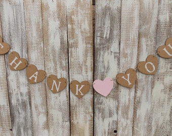 Heart Garland Thank You - heart Garland/banner/Garland wedding/wedding