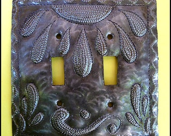 Metal light switch cover - Switch Plate Cover, Haitian Metal Art, Double Metal Switchplate Covers, Switch Plate Covers, HS-103-2
