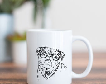 Harry Pugger Dog Mug - Gifts For Dog Owner, Pug Lover, Pug Art, Pug Gift, Pug Mug, Pug, Dog Art, Dog Lover, Harry Potter Gift, Harry Potter