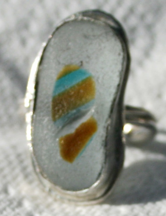TOFFEE & TURQUOISE - Adjustable Ring - Sea glass multi in Sterling Silver