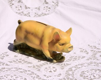 Porcelain piggy bank, Marco Fine China made in Japan, Pig-shaped piggy bank, porcelain piggy-bank, bank for kids