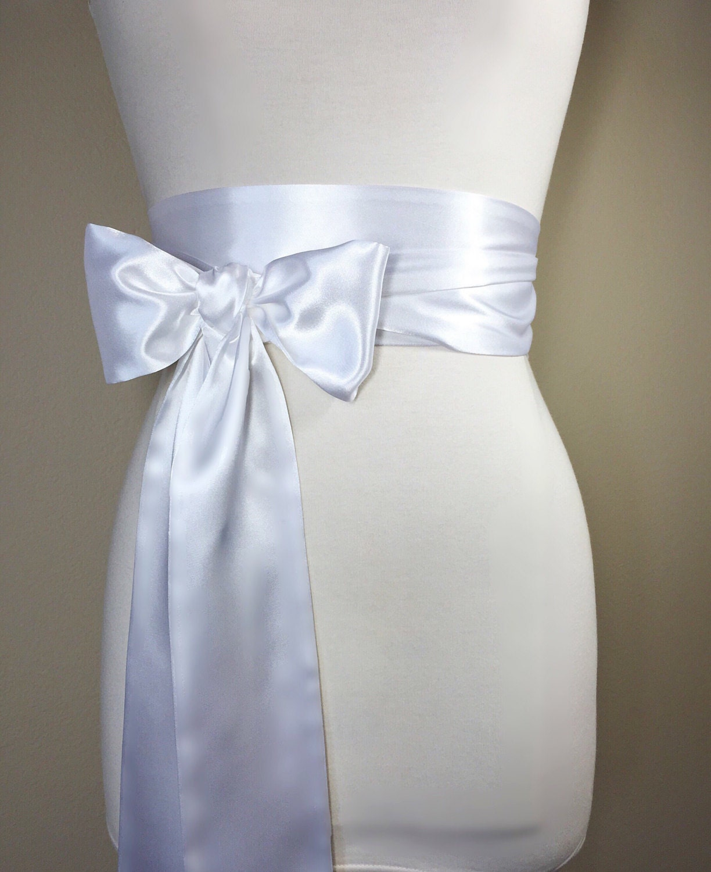 White Satin Sash White Sash Belt Wedding Sash Bridal Sash