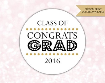 Graduation stickers - Congrats grad - Graduation labels - Class of 2016 stickers (RW082)