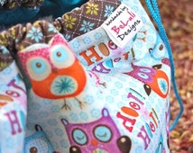 Children's Fabric Library Bag. Funky Owls design. A colourful, fun, unique children's  bag. Personalisation available. Made to Order.