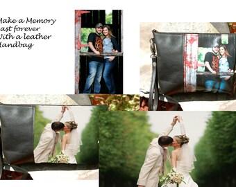 Photo Printed on Leather Bag-Custom Designed Leather -Keepsake- Personalized-Weeding Photo-Baby Photo