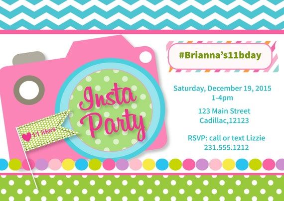 items similar to instagram party invitation girl 39 s instagram party invitation for tween or. Black Bedroom Furniture Sets. Home Design Ideas