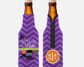 Personalized Halloween Huggie/Beverage Insulator • Drink Up Witch Personalized Long Neck Bottle Huggie/Beverage Insulator