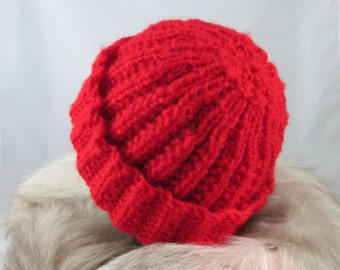 Red Hand Knit Hat