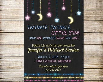 Twinkle Twinkle little star gender reveal invitation