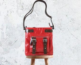 UN1 Red Crossbody Leather Bag: Shoulder Purse / Crossbody Bag / Tablet Bag / Zipper Fits Kindle / Red Bag / Kindle Bag