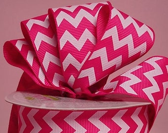 "1-1/2"" Hot Pink Chevron Print Grosgrain Ribbon 1-1/2"" x 1 yard"