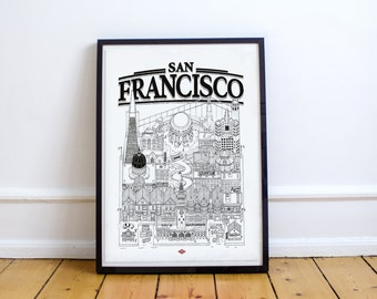 San Francisco - series illustration * Travel With Me *. Black and white. 32 x 45 cm