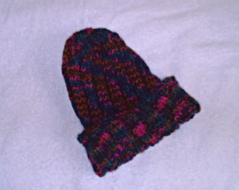 Warm Handknitted Hat in 'Harlequin' Colors