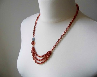 Long copper chainmaille necklace with bead detail - proceeds to charity
