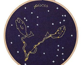 Pesci (19 febbraio - 20 marzo) ricamo dello zodiaco