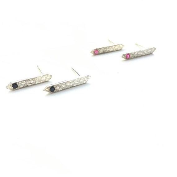 Textured Single Spike Gemstone Stud Earrings