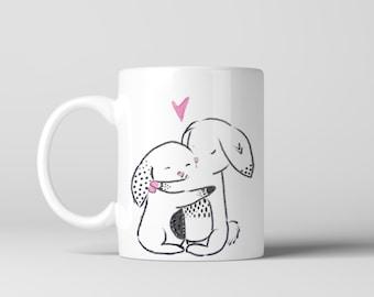 Bunny rabbit coffee mug, Gifts, Best friends mug, Personalized mug, Mothers Day Mug, Mother Daughter bond, Cute Coffee Mug
