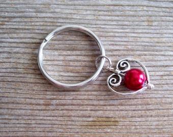 Heart Keychain, Burgundy Pearl Silver Heart Key Chain, Sweetheart Keychain, Filigree Heart Charm, Pearl Heart Key Ring