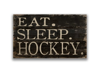 Eat. Sleep. Hockey block wooden sign hockey decor game day signs soccer signs soccer plaques sports signs hockey gifts coach gifts