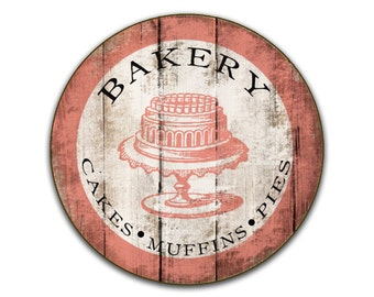 """Bakery wooden sign 24""""x24""""x3/4 Personalized Bakery sign custom Bakery signs Business signs round sign custom business signs custom cafe sign"""