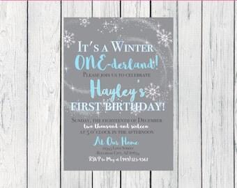 Winter One-derland Birthday Invitation-   ***Digital File*** (One-BlueWinter)