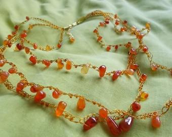 Necklace - Carnelian Drop