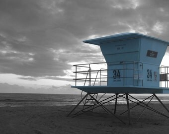 Black and White Lifeguard Tower 34, Desaturated Color, Blue, Stormy Skies, Beach, Pacific Ocean, Tamarack State Beach, Carlsbad, California