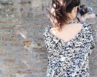Handknit, V-Neck Sweater, Slouchy Sweater, V-Back Sweater, Backless Sweaters, Multi-Colour, Black, White, Navy, Khaki, Cream, Grey, Purple