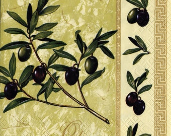 "6 Decoupage Paper Napkins Still Life Olives Oil 33x33 cm. 13""x13"" set of 6 pcs. Napkins"