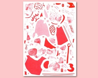 RISOGRAPH poster, print, RISO, pink, red, poster, DIN A4, pattern, stamp, screen print, screenprinting, printing, graphics, illustration, stamping