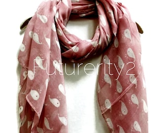Cute Little Wales Dusty Rose Pink Scarf / Spring Scarf / Summer Scarves / Autumn Scarf / Gifts For Her / Women Scarves / Accessories
