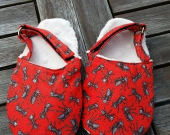 Children's Ant Slippers with adjustable Velcro strap and nonslip sole.