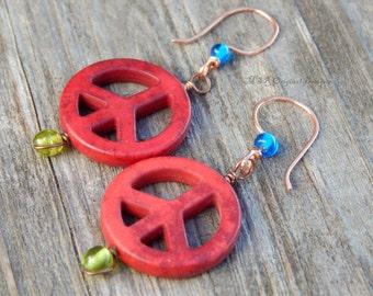 Peace sign earrings, retro earring, copper earrings, unique gift, flower child, hippie jewelry, statement earrings, red earrings, peace sign